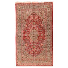 Antique Hand Knotted Persian Qum Area Rug Wool Circa 1900, SIZE: 5'3'' x 9'6''