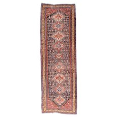 Antique Red Extremely Fine Qashkai Persian Area Rug: SIZE: 3'9'' x 11'8''
