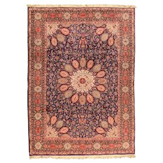 Hand Knotted Persian Qum Silk Circa 1970, SIZE: 9'4'' x 11'9''