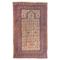 Fine Antique Daghestan Shirvan Rug, Hand Knotted, Circa 1890, Size 3'1'' X 4'3""