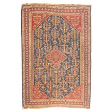 "Fine Antique Persian Qashqai Rug,Hand Knotted, Circa 1920's, Size 3'8"" X 4'10"""
