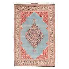 "Fine Semi Antique Vintage Qum Persian Rug, Hand Knotted, Circa 1930's, Size 4'7"" x 7'2"""