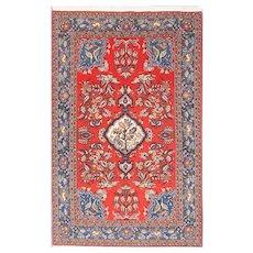 "Fine Semi Antique Vintage Qum Persian Rug, Hand Knotted, Circa 1930's, Size 4'7"" x 7'5"""