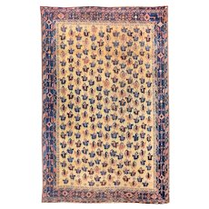 "Fine Antique Persian Tribal Afshar Rug, Hand Knotted, Circa 1890, Size 3'9"" x 4'8"""
