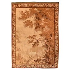 Extremly Fine Antique Verdure French Tapestry, Hand Knotted, Circa 19th c, Size 5'8' X 8'5""