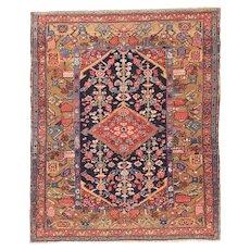Antique Rust Heriz Persian Area Rug Wool Circa 1890, SIZE: 4'6'' x 5'4''
