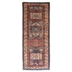Antique Red Caucasian Russian Area Wool Circa 1890, SIZE: Rug 3'7'' x 9'3''