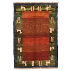 """Fine Vintage Persian Gabbeh,  Hand Knotted, Circa 1950's, Size 4'1""""x6'2"""""""