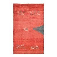 Fine Vintage Persian Gabbeh Qashqai Tribe Wool Circa 1970, SIZE: 3'2'' x 5'3''