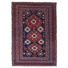 Antique Red Shirvan Russian Area Rug Wool Circa 1910, SIZE: 6'0'' x 8'9''