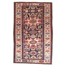 Antique Brown Kuba Russian Area Rug Wool Circa 1900, SIZE: 3'10'' x 6'1''
