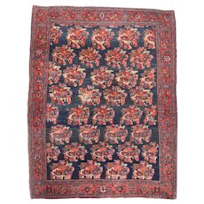 Antique Red Bijar Persian Area Rug Wool Circa 1890, SIZE: 4'9'' x 6'2''