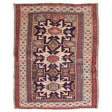 "Fine Antique Shirvan Russian Rug, Hand Knotted, Circa 1900, Size 2'7"" x 3'2"""
