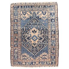 Antique Midnight Blue Malayer Persian Area Rug Wool Circa 1920, SIZE: 6'4'' x 7'6''