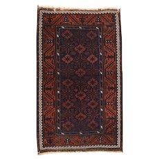 Semi Antique Persian Balouch Area Rug Wool Circa 1940, SIZE: 3'3'' x 5'0''