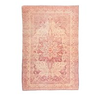 Antique Red Sivas Turkish Area Rug Silk & Wool Circa 1890, SIZE: 4'3'' x 6'5''