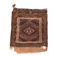 Semi Antique Persian Balouch Area Rug Wool Circa 1950, SIZE: 2'2'' x 2'7''