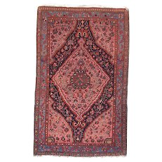 "Fine Antique Malayer Persian Rug, Hand Knotted, Circa 1890, Size 3'2"" x 5'1"""