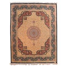 Vintage Beige Fine Persian Qum Area Rug Silk Circa 1970, SIZE: 6'4'' x 8'10''