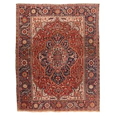 Antique Rust Heriz Persian Area Rug Wool Circa 1910, SIZE: 8'5'' x 11'0''