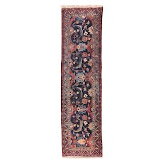 Semi Antique Persian Heriz Area Rug Wool Circa 1900, SIZE: 2'9'' x 10'9''
