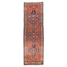Semi Antique Fine Persian Heriz Area Rug Wool Circa 1940, SIZE: 3'6'' x 11'0''