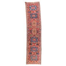 Semi Antique Fine Persian Heriz Area Rug Wool Circa 1940, SIZE: 3'4'' x 14'4''