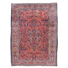 Antique Rust Lillihan Persian Area Rug Wool Circa 1920, SIZE: 5'3'' x 6'6''