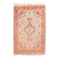 Vintage Beige Persian Tabriz Area Rug Silk & Wool Circa 1970, SIZE: 6'7'' x 10'2''