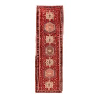 Antique Persian Karajeh Area Rug Wool Circa 1900, SIZE: 3'2'' x 10'6''