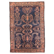 Antique Black Mohajeran Sarouk Persian Area Rug Silk & Wool Circa 1920, SIZE: 4'1'' x 6'4''