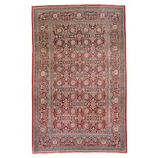 Antique Red Kashan Dabir Persian Area Rug Wool Circa 1910, SIZE: 4'4'' x 6'10''