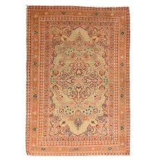 Antique Red Tabriz Haji Jalili Persian Area Rug Silk & Wool Circa 1890, SIZE: 4'4'' x 6'4''