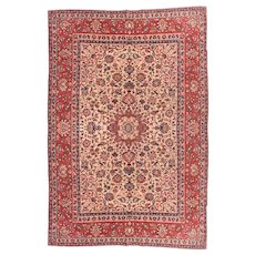 Semi Antique Red Isfahan Persian Area Rug Wool Circa 1930, SIZE: 6'5'' x 9'10''