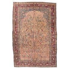 Antique Red Tehran Persian Area Rug Wool Circa 1890, SIZE: 7'2'' x 10'8''