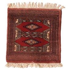 Vintage Bokhara Rug Wool Circa 1950, SIZE: 1'6'' x 1'6''