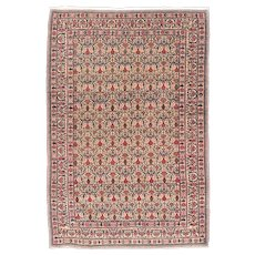 Semi Antique Beige Tabriz Persian Area Rug Wool Circa 1890, SIZE: 4'5'' x 6'7''