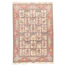 Excellent Rose Tabriz Persian Area Rug Wool & Silk Circa 1970, SIZE: 7'0'' x 10'0''