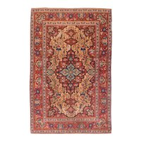 Semi Antique Red Isfahan Persian Area Rug Wool Circa 1890, SIZE: 4'5'' x 7'10''