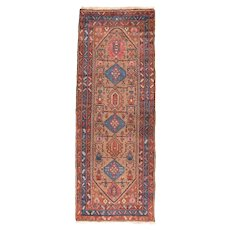 Semi Antique Persian Malayer Area Rug Wool Circa 1950 SIZE: 3'4'' x 9'0''