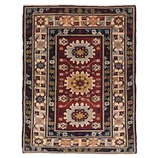 Antique Red Shirvan Kuba Russian, Area Rug Wool Circa 1910, SIZE: 2'7'' x 3'4''6''