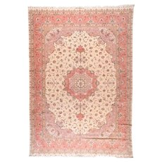 Antique Beige Nain Persian Area Rug Silk & Wool Circa 1920, SIZE: 5'7'' x 9'6''