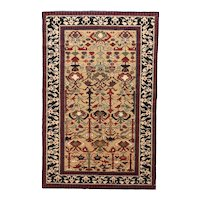 Vintage Ivory Shirvan Russian Area Rug Wool Circa 1970, SIZE: 3'3'' x 5'10''