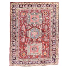 Antique Red Heriz Persian Area Rug Wool Circa 1910, SIZE: 4'0'' x 6'6''