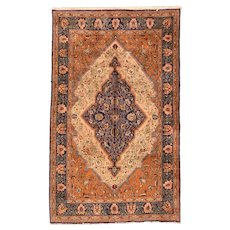 Excellent Fine Persian Silk Qum Area Rug Wool Circa 1970, SIZE: 5'3'' x 8'5''