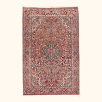 """Fine Antique Sarouk Persian Rug, Hand Knotted, Circa 1920, Size 4'3"""" x 6'9"""""""