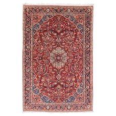 "Fine Semi Antique Sarouk Persian Rug, Hand Knotted, Cira 1930's, Size 4'2 x 6'6"""