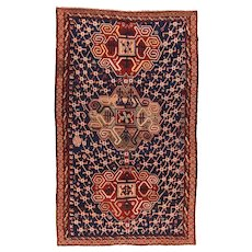 Antique Red Daghestan Russain Area Rug Wool Circa 1890, SIZE: 6'6'' x 11'0''