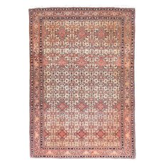 Antique Rust Tabriz Persian Area Rug Wool Circa 1890, SIZE: 4'8'' x 6'9''