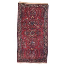 "Fine Antique Sarouk Persian Rug, Hand Knotted, Circa 1910, Size 2'6"" x 4'10"""